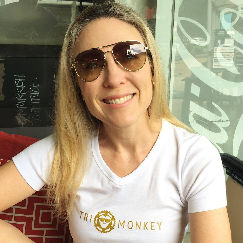 Jane with her new Team Tri Monkey Shirt